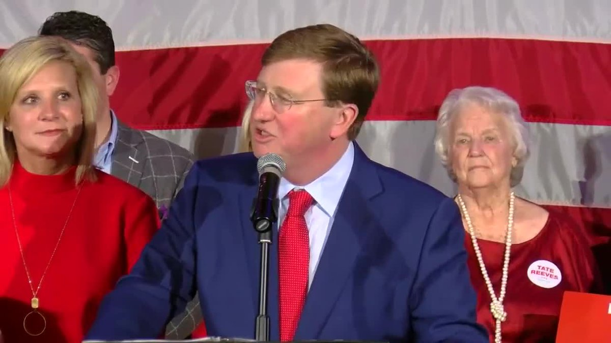 Tate Reeves speaking after winning the election as governor.