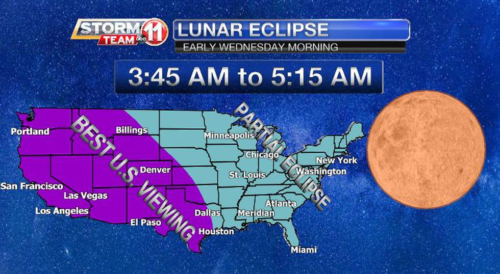 A lunar eclipse will occur early Wednesday morning, but we will only see the beginning of it.