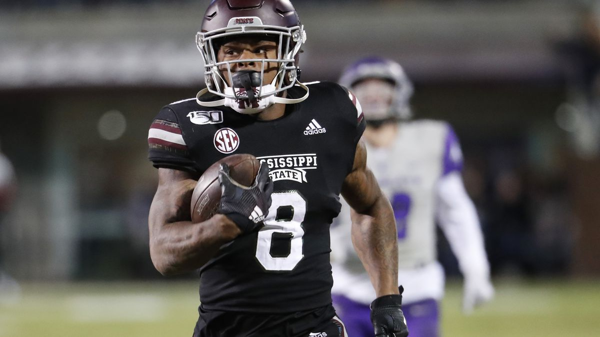 FILE - In this Nov. 23, 2019, file photo, Mississippi State running back Kylin Hill plays...