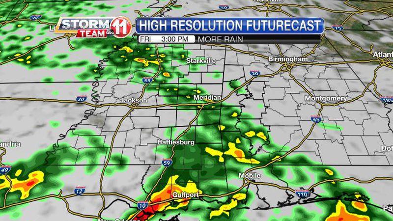 More rain will fall through Saturday, but it won't be constant rain.