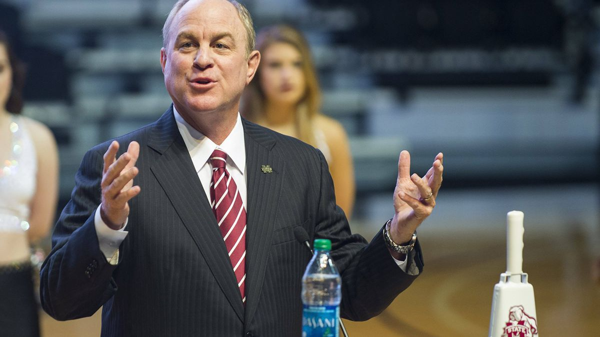 Mississippi State men's basketball coach Ben Howland being introduced as the program's 20th...