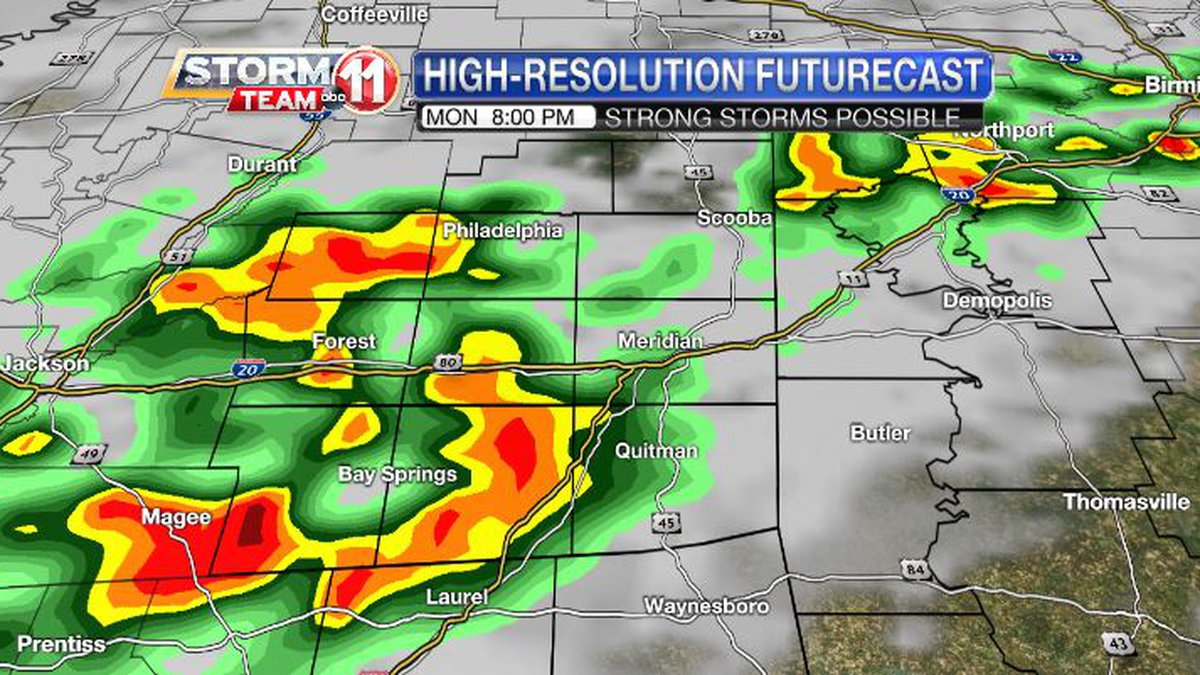 Heavy storms can bring gusty winds Monday evening.