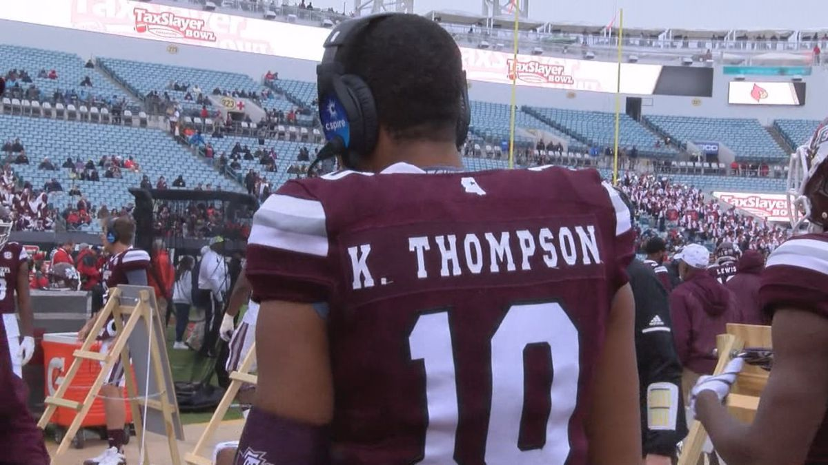 (Keytaon Thompson warms up prior to the 2017 TaxSlayer Bowl against Louisville. Thompson had three rushing touchdowns in the matchup)