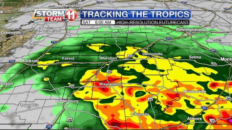 Heavy rain on Saturday will be accompanied by gusty winds as a tropical system tracks through...