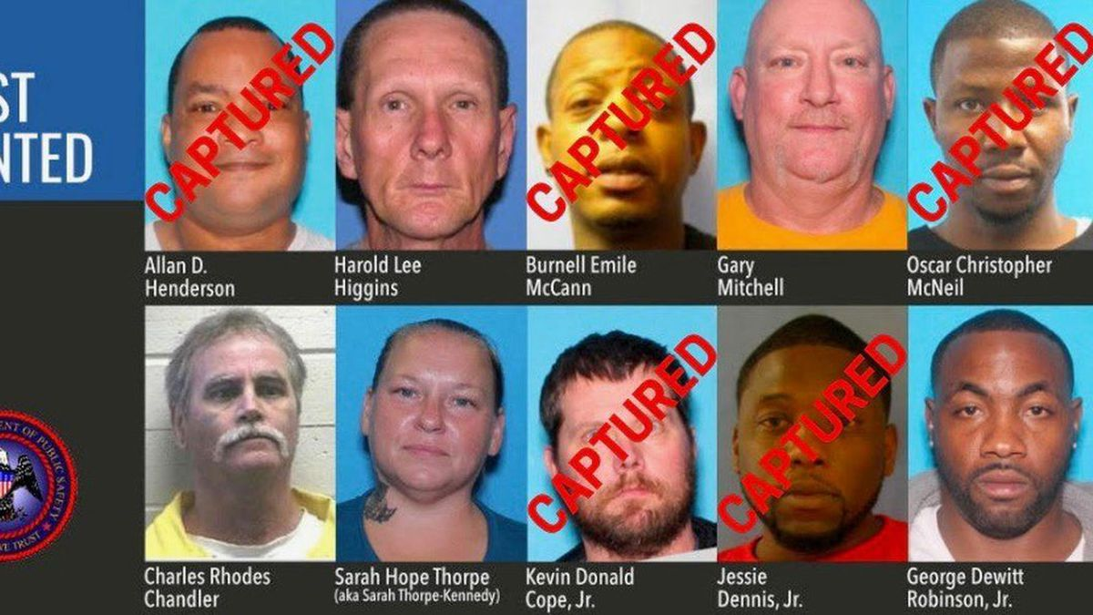 Five of the original ten people on Mississippi's Most Wanted list announced Jan. 7, 2020, are...
