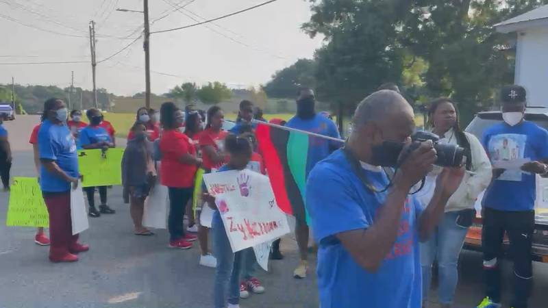 A protest was held Saturday in honor of 5 year old Zy'Kerioun Brown on Old Marion Rd