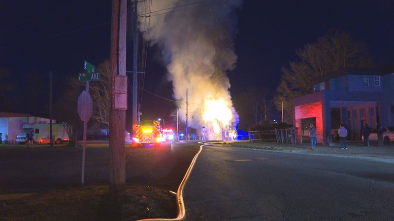 Flames could be seen from the street as multiple crews worked to quickly put the fire out.