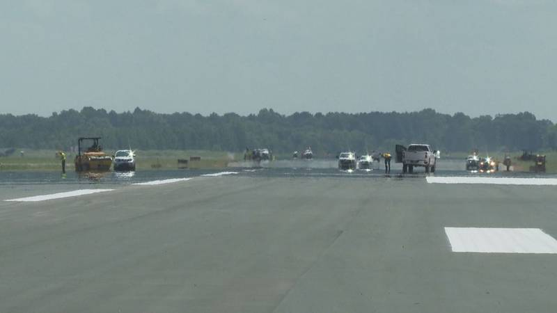 Paving project continues at Meridian Regional Airport.