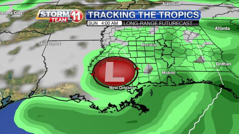 A disturbance in the Gulf of Mexico could be close enough for a rainy weekend.