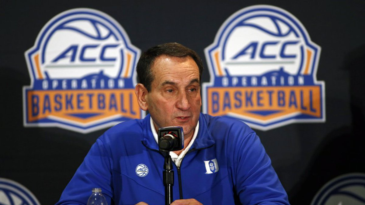 Duke coach Mike Krzyzewski answers a question during the Atlantic Coast Conference NCAA college...
