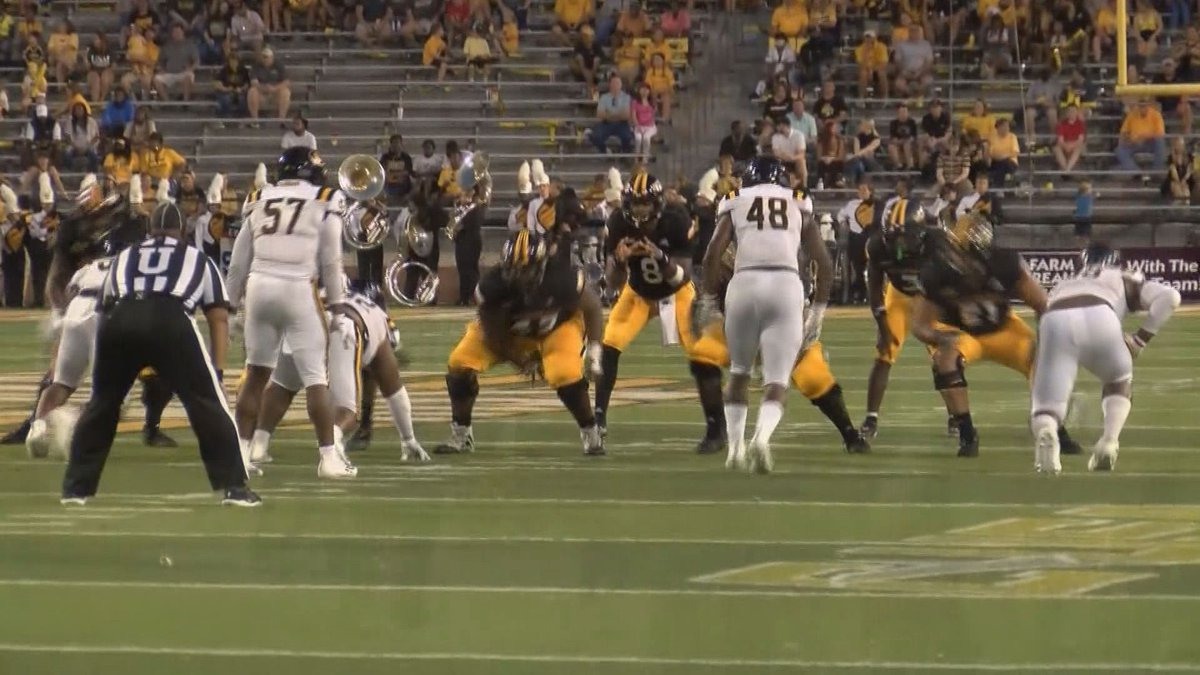 Trey Lowe awaits a snap against Grambling State