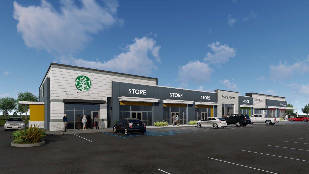 Artist/architect rendering of a new Starbucks and retail center in Meridian