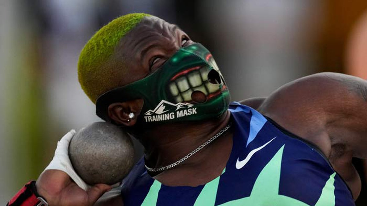 Raven Saunders competes during the finals of the women's shot put at the U.S. Olympic Track and...