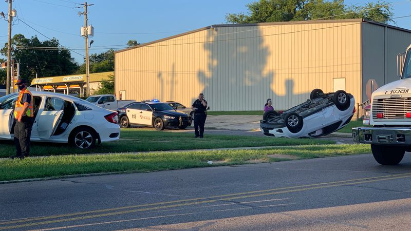 Vehicle rolled onto roof in Meridian