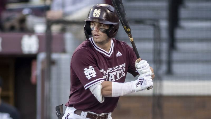 Mississippi State outfielder Tanner Allen (5) during an NCAA college baseball game at Dudy...