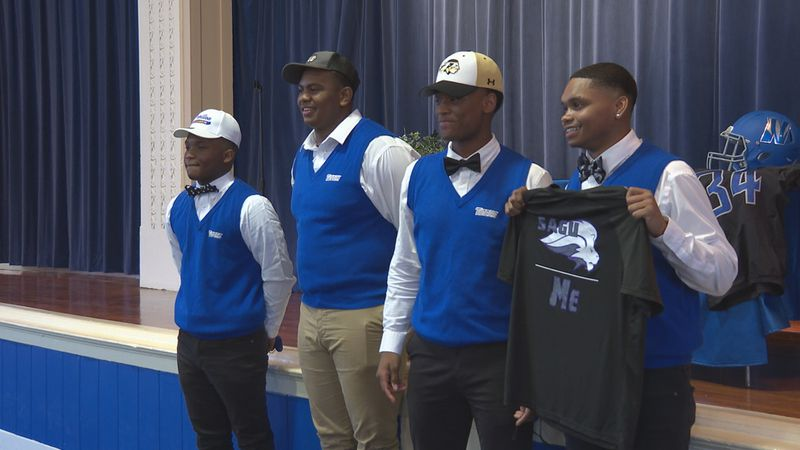 (From left to right) Lawrence Morris, Tyshun Evans, Kobe Thompson and Damarius Logan all show...