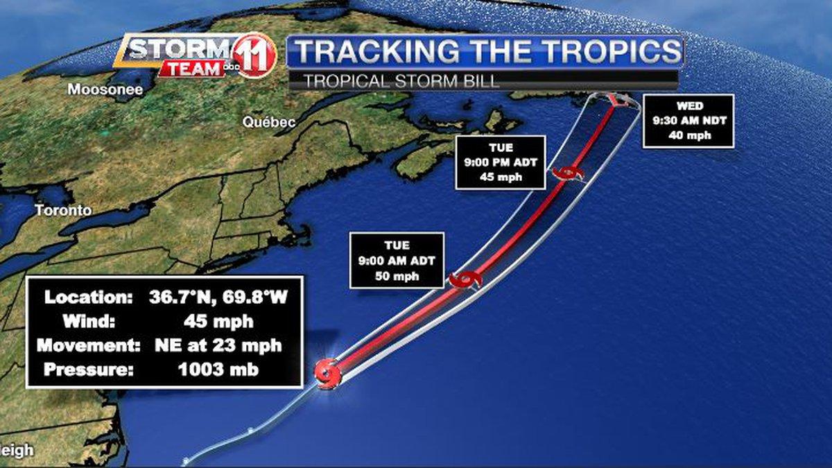 Tropical Storm Bill formed Monday evening off the U.S. Atlantic Coast.