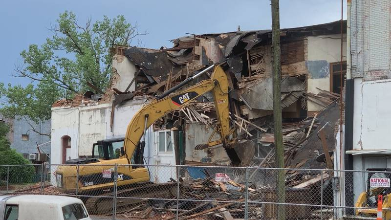 Demolition is underway Saturday for the building that collapsed in downtown Meridian on 23rd...
