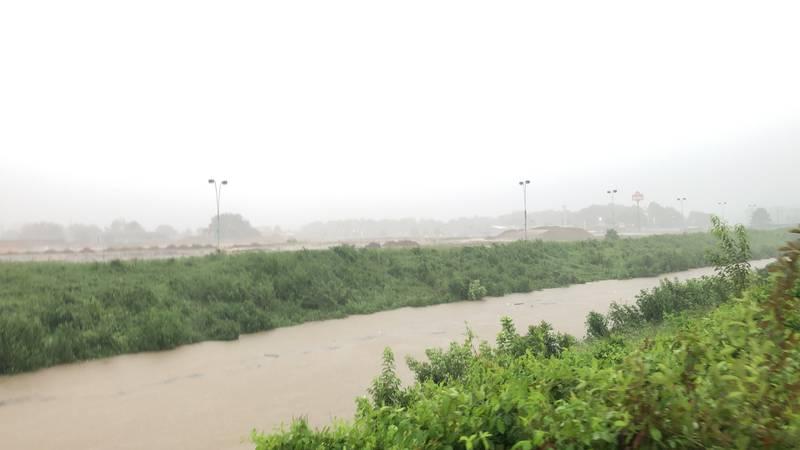 Sowashee Creek swells as Ida dropped rain on Meridian Monday,