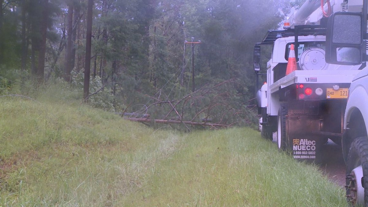 Tree on Okatibbee Dam Rd. cause outage in area