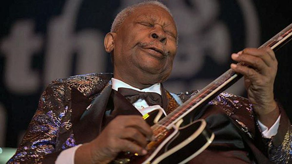 "B.B. King earned the title ""King of Blues"" with his unique playing style and relentless touring schedule. (Source: Wiki Commons/Leahtwosaints)"