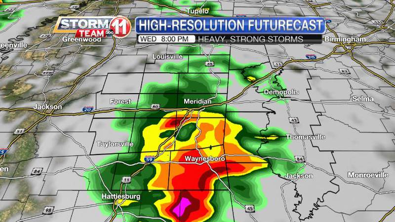 Heavy thunderstorms, some with damaging wind gusts, are likely Wednesday night.