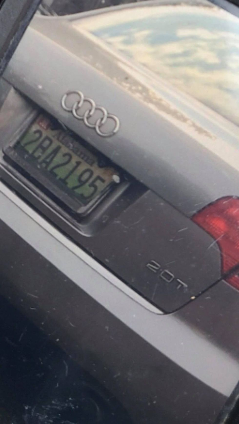 The vehicle being used is a 2007 silver Audi A4 2.0 bearing Alabama license plate 2BA2195.