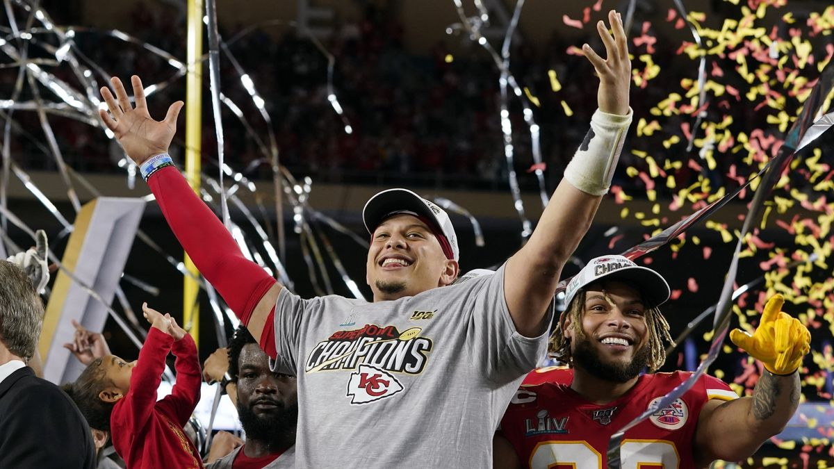 FILE - In this Feb. 2, 2020, file photo, Kansas City Chiefs' Patrick Mahomes, left, and Tyrann Mathieu celebrate after defeating the San Francisco 49ers in the NFL Super Bowl 54 football game in Miami Gardens, Fla. After leading the Chiefs to their first Super Bowl championship in five decades, Mahomes is finally eligible to sign a contract extension this off-season. Both sides are eager to come to terms on what could be a record-setting deal. (AP Photo/David J. Phillip, File)