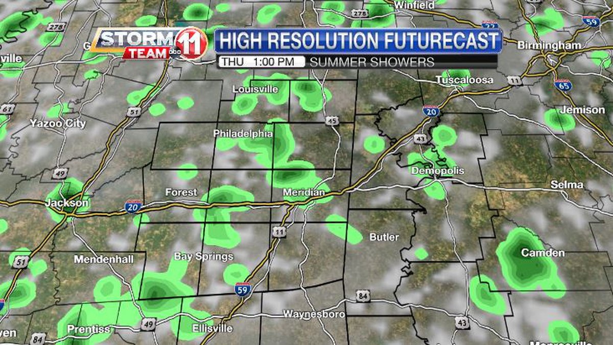 Spotty showers are likely on Thursday, but the rain won't fall on all of us.