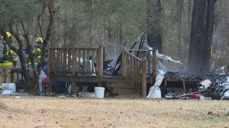 A fire destroyed a camper trailer on John C. Stennis Drive in Lauderdale County.
