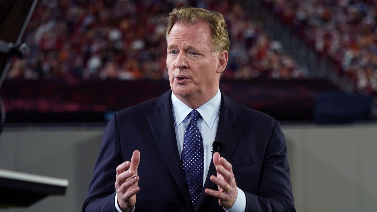 FILE - NFL Commissioner Roger Goodell talks about the Walter Payton NFL Man of the Year award...