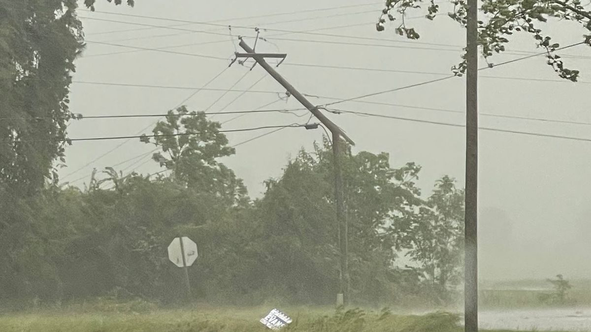 Power pole snapped in Newton County from May 4, 2021, storms