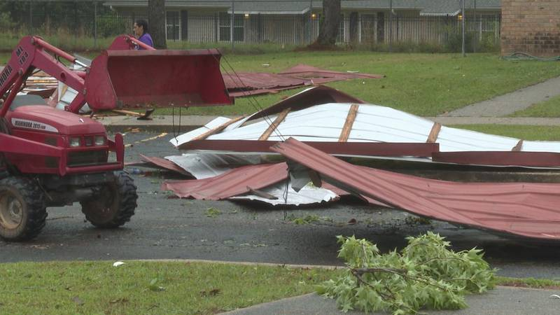 Debris litters the ground after Tuesday storm.