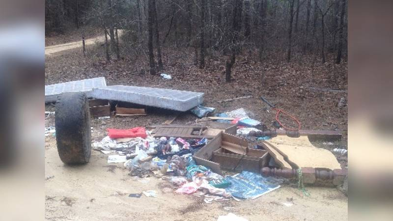 Recent dumping in the Bienville Ranger District.