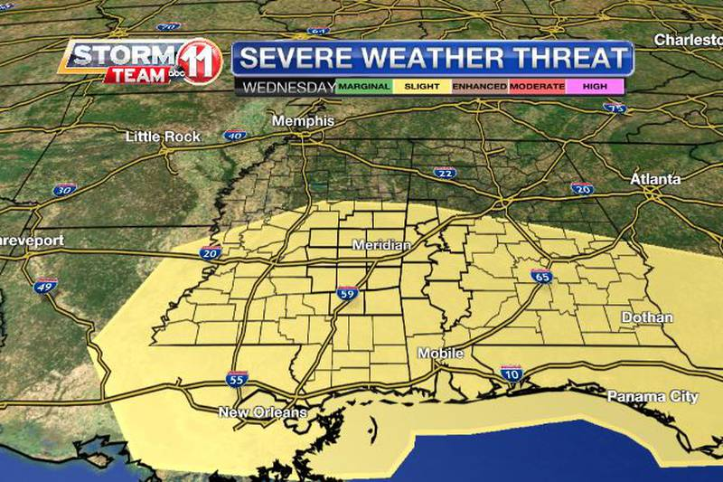 Forecast data indicate an increasing potential for severe thunderstorms on Wednesday.