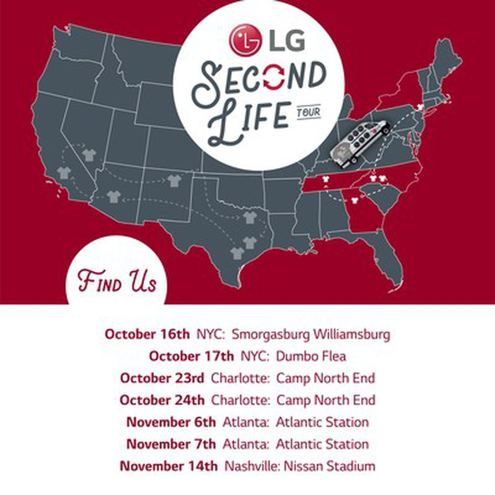 The LG Second Life East Coast Tour locations include New York City, Charlotte, Atlanta, and...