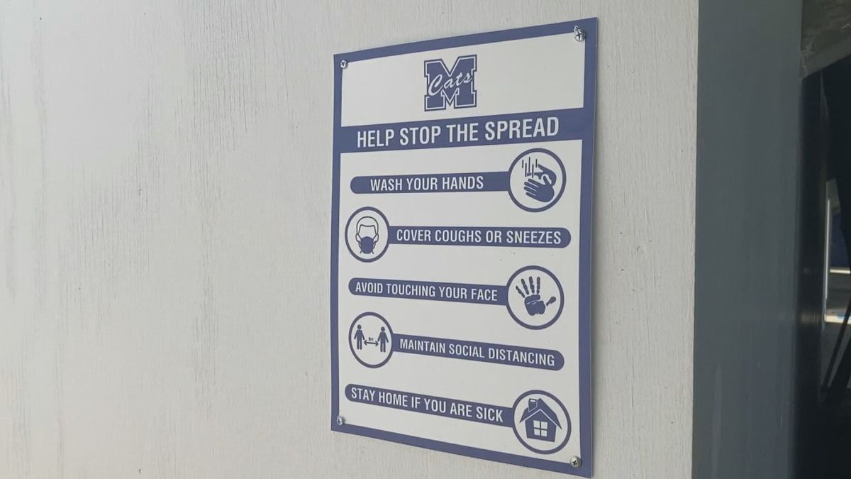 A sign posted at Ray Stadium shows ways fans can help stop the spread of COVID-19