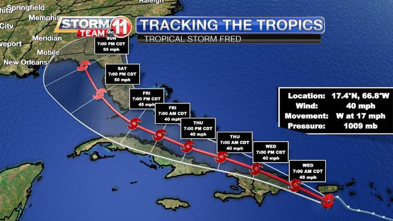 Tropical Storm Fred has formed in the Caribbean Sea and is tracking toward the Gulf of Mexico.