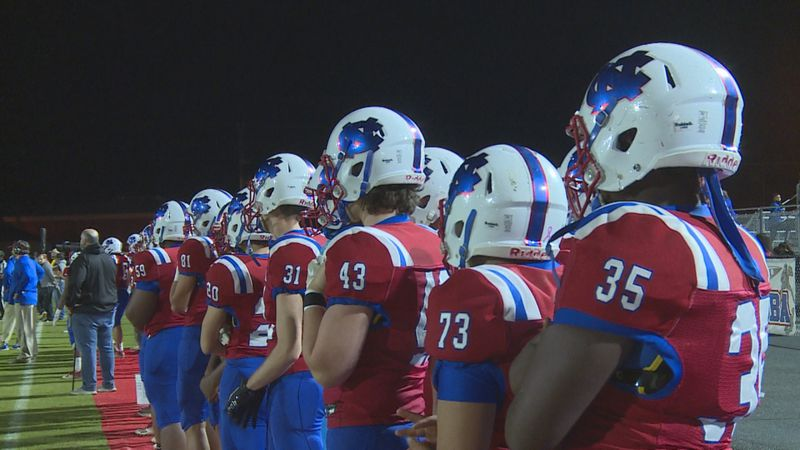 Neshoba Central football players line up on the sideline during Friday's playoff matchup...