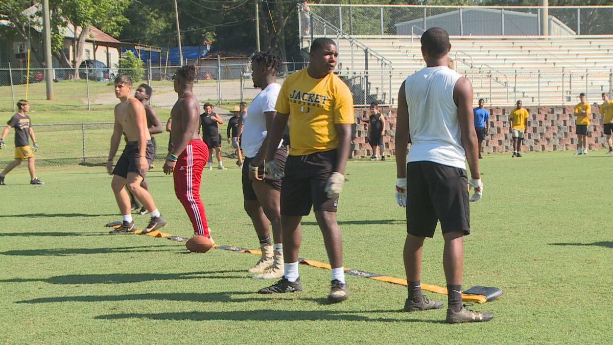 Union defensive lineman practice drills during summer workouts