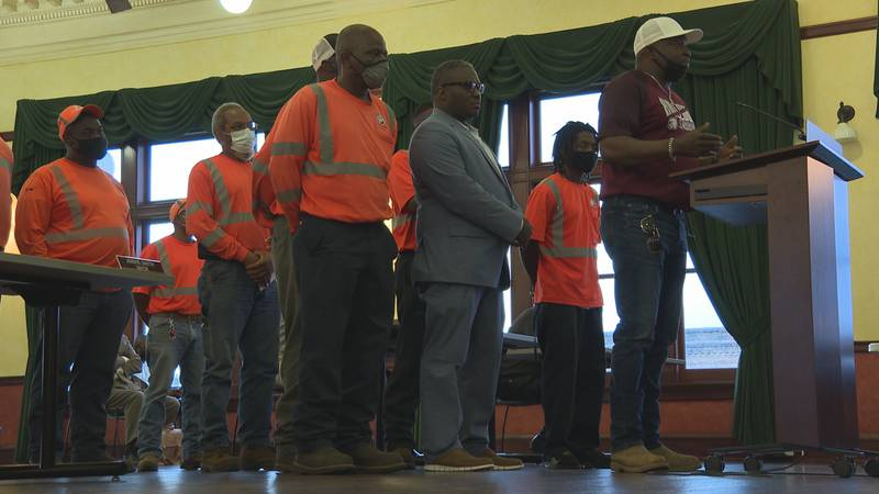 Members of public works at the city council meeting Tuesday.