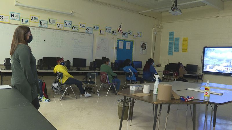 Magnolia Middle School teacher, Michelle Pennington, streamed the inauguration for her students.