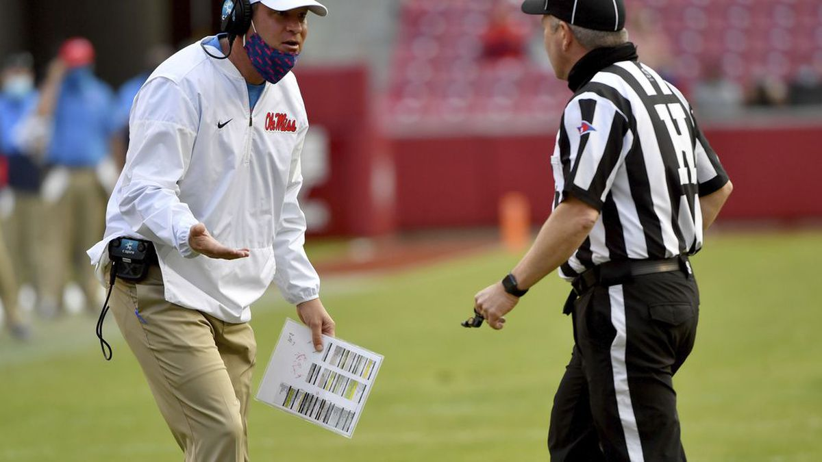 Mississippi coach Lane Kiffin reacts to a call during the second half of an NCAA college...