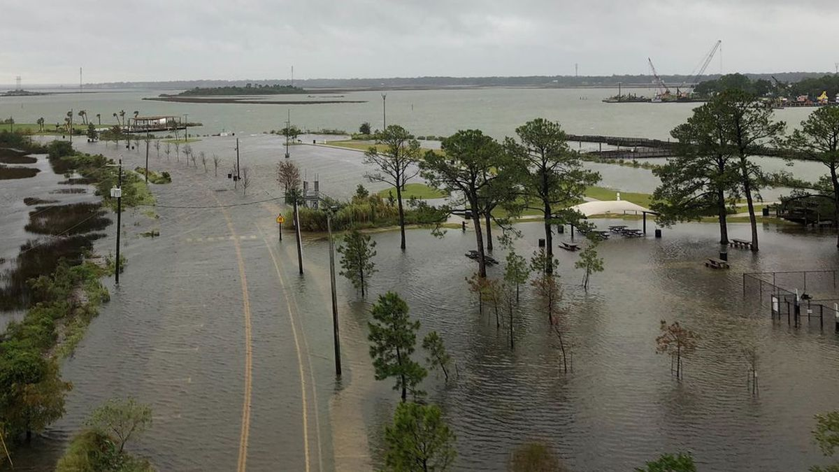 A drone shot of Pascagoula's River Park shows the rising water as Hurricane Sally's storm surge pushes into the Mississippi Gulf Coast.