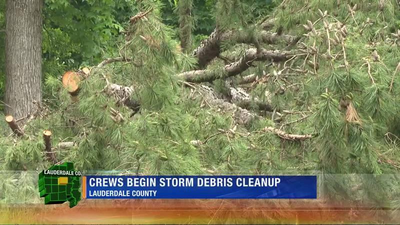 Storm debris cleanup begins in Lauderdale Co.