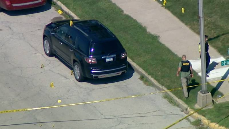 A fatal shooting scene is seen via aerial view in Kankakee, Illinois, on Thursday. Two people...