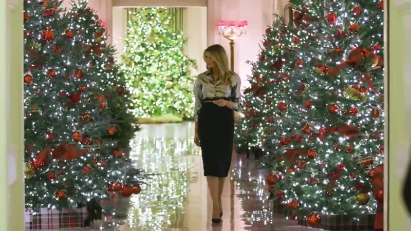 First Lady Melania Trump posted a video of White House Christmas trees and decor to Twitter.