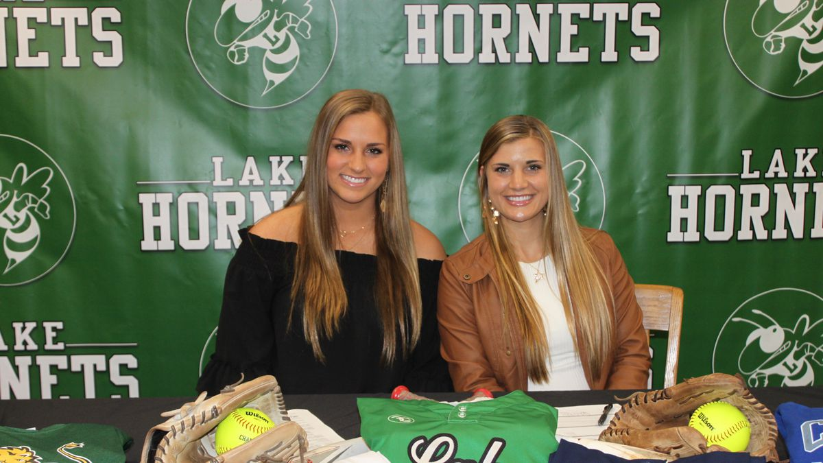 Taylor Duncan (left) and Laurel Breland (right) signed to play softball at the college level...