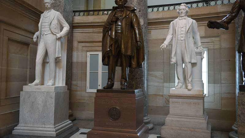 FILE - In this June 11, 2020, file photo a statue of Jefferson Davis of Mississippi is on...