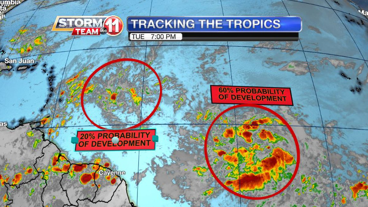 Two disturbance in the Tropical Atlantic are being monitored for signs of development.